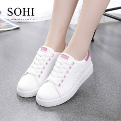 SOHI 1 Pairs PU Plus Size 35-41 Comfortable Flat White Shoes Sneakers Shoes Women Footwear pink 38