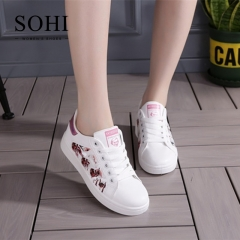 SOHI 1 Pairs PU Size 35-40 Comfortable Flat White Shoes Sneakers Women's Shoes Footwear pink 35
