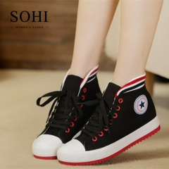 SOHI 1 Pairs Canvas Size 34-39 High-top Flat Sneakers Canvas Shoes Women Footwear black 34
