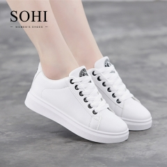 SOHI 1 Pairs PU Size 34-38 Classic Comfortable Flat White Shoes Sneakers Shoes Women black 34