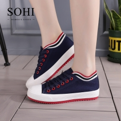 SOHI 1 Pairs Canvas Size 34-39 Comfortable Flat Shoes Sneakers Canvas Shoes Women Footwear blue 35