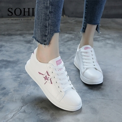 SOHI 1 Pairs PU Size 34-39 Flat White Shoes Sequin Star Sneakers Shoes Women pink 38