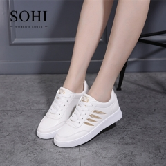 SOHI 1 Pairs PU Size 35-40 Comfortable Flat White Shoes Sequin Leaf Sneakers Shoes Women gold 38
