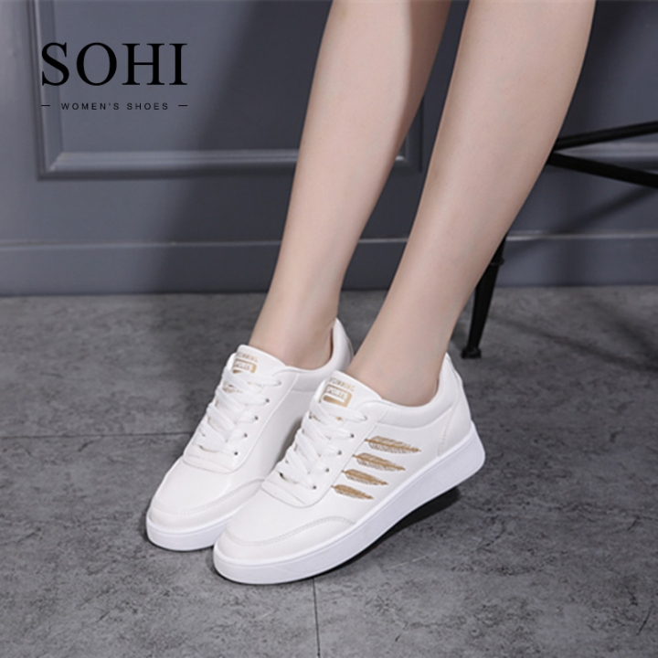 SOHI 1 Pairs PU Size 35-40 Comfortable Flat White Shoes Sequin Leaf Sneakers Shoes Women gold 35