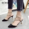 SOHI 1 Pair PU Size 34-39 Rivet Buckle Strap Heels Women'S Shoes Wedding High Heels black