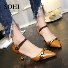 SOHI 1 Pair PU Size 35-39 Metal Buckle Strap Thin Heel High Heels Office Women'S Shoes brown 35
