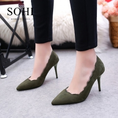 SOHI 1 Pairs Suede Pumps Heels Shoes Pointed Toe Shallow Party Women Shoes gray 35