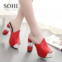 SOHI 1 Pairs PU Thick Heel Sandals Shoes Sexy Causal High Heels Women Shoes red 34