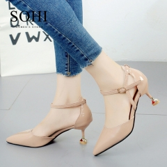 SOHI 1 Pair PU Size 35-39 Buckle Strap Thin Heel Office High Heels Women'S Shoes pink 35