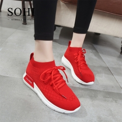 SOHI 1 Pairs Net Yarn Size 35-40 Breathable Running Shoes Sneakers Athletic Women's Shoes red 35