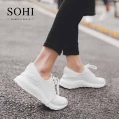 SOHI 1 Pairs Net Yarn Size 35-39 Breathable Running Shoes Athletic Tennis Shoes For Women white 35
