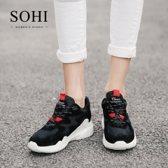 SOHI 1 Pairs Leather Size 35-39 Street Running Shoes Sneakers Athletic Shoes For Women black 38