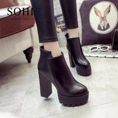 SOHI 1 Pairs Size 35-39 PU Thick Heel Zipper Warm Martin Boots Sexy High Heel Women Shoes black 35