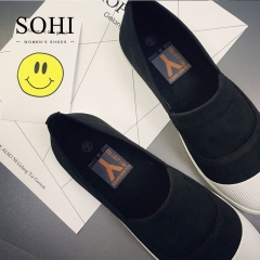 SOHI 1 Pairs  Leisure Shallow Mouth Canvas Shoes  Soft-soled Sport Shoes  Flat Shoes For Women black 35