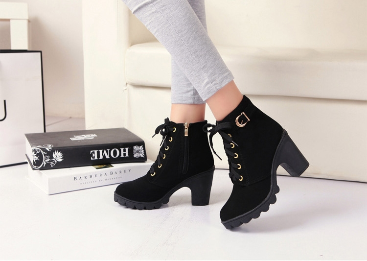 SOHI Winter Clearance Sale 1 Pairs 35-41 Lace-Up Ankle Boots Women'S Shoes Causal Martin Boots Shoes black 39 7
