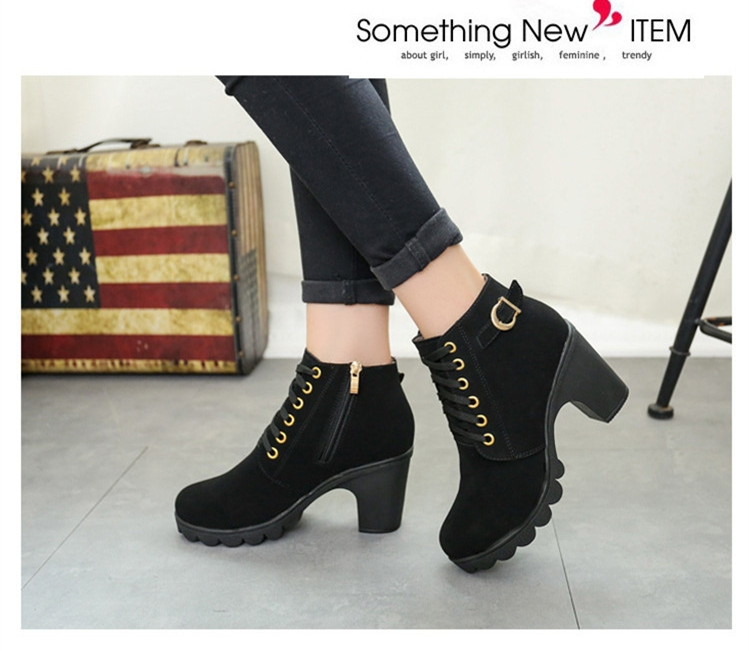 SOHI Winter Clearance Sale 1 Pairs 35-41 Lace-Up Ankle Boots Women'S Shoes Causal Martin Boots Shoes black 39 5