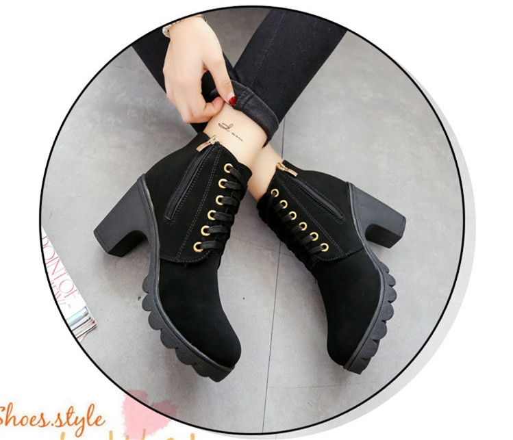 SOHI Winter Clearance Sale 1 Pairs 35-41 Lace-Up Ankle Boots Women'S Shoes Causal Martin Boots Shoes black 39 9