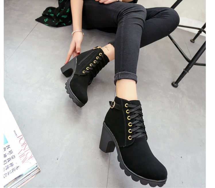 SOHI Winter Clearance Sale 1 Pairs 35-41 Lace-Up Ankle Boots Women'S Shoes Causal Martin Boots Shoes black 39 6
