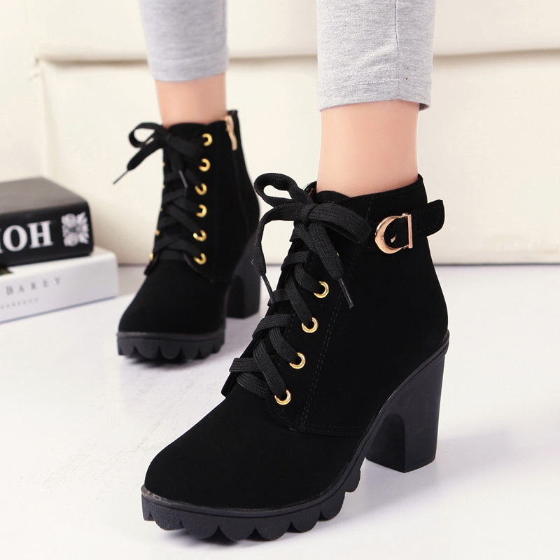 SOHI Winter Clearance Sale 1 Pairs 35-41 Lace-Up Ankle Boots Women'S Shoes Causal Martin Boots Shoes black 39 4