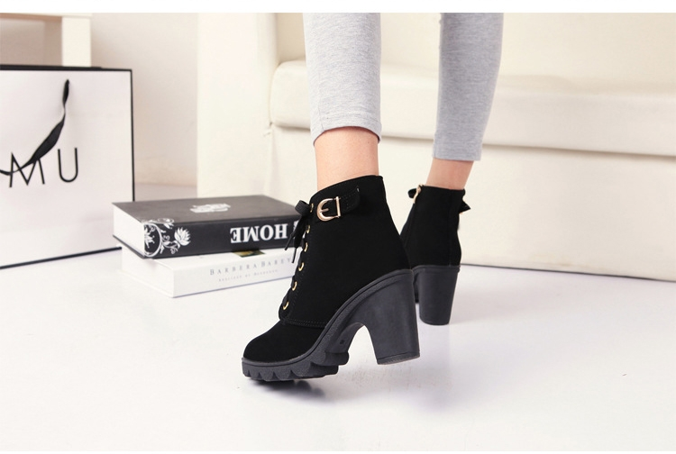 SOHI Winter Clearance Sale 1 Pairs 35-41 Lace-Up Ankle Boots Women'S Shoes Causal Martin Boots Shoes black 39 8