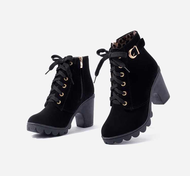 SOHI 1 Pairs PU Size 35-41 Lace-Up Ankle Boots Women'S Shoes Causal Martin Boots Flat Shoes black 39 23
