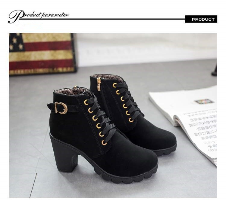 SOHI 1 Pairs PU Size 35-41 Lace-Up Ankle Boots Women'S Shoes Causal Martin Boots Flat Shoes black 39 22