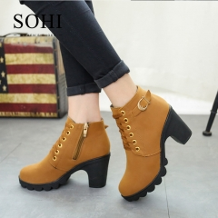 SOHI Hot selling 1 Pairs 35-41 Lace-Up Ankle Boots Women'S Shoes Causal Martin Boots Shoes brown 35