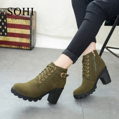 SOHI Winter Clearance Sale 1 Pairs 35-41 Lace-Up Ankle Boots Women'S Shoes Causal Martin Boots Shoes army green 41