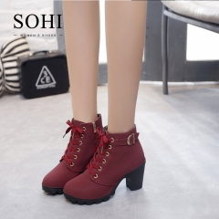 SOHI Hot selling 1 Pairs 35-41 Lace-Up Ankle Boots Women'S Shoes Causal Martin Boots Shoes red 35