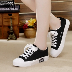SOHI 1 Pairs Canvas Plus Size 35-43 Flag Flat Sneakers Canvas Shoes Women Footwear black 38