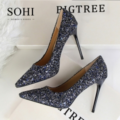 SOHI 1 Pairs Bling Sequin Pumps Heels Shoes Pointed Toe Shallow High Heels Women Shoes blue 40