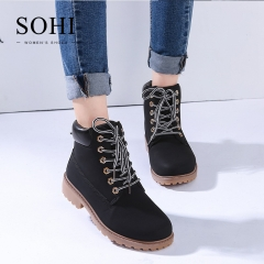 SOHI 1 Pairs PU Lace-Up Ankle Boots Women'S Shoes Round Toe Martin Boots shoes black 36