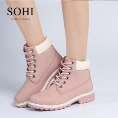 SOHI 1 Pairs PU Lace-Up Ankle Boots Women'S Shoes Round Toe Martin Boots shoes pink 37
