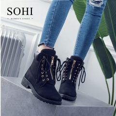SOHI 1 Pairs Plus Size 36-41 PU Two Ways Wear Ankle Boots Women's Shoes Outdoor Hiking Martin Boots black 40