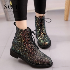 SOHI 1 Pairs Plus Size 35-40 PU Sequin Lace up Women's Shoes Martin Boots black 35