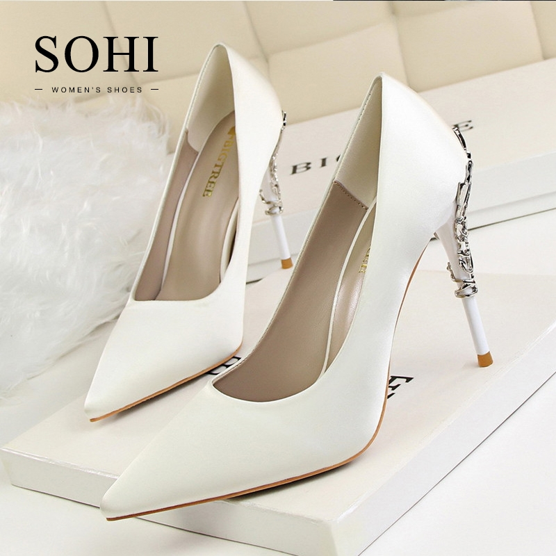 b0a4338e9f17 ... Metal Floral Pumps Heels Shoes Pointed Toe Shallow High Heels Weeding  Women Shoes white 39  Product No  1331683. Item specifics  Seller SKU SOHI-00157  ...