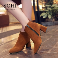 SOHI 1 Pairs Plus Size 35-44 Thick Heel Matte Ankle Boots High Heel Women's Shoes light brown 35