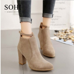 SOHI 1 Pairs Size 35-39 PU Suede Women's Shoes High Heel Ankle Martin Boots apricot 35