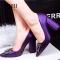 SOHI 1 Pairs PU Pumps Heels Pointed Toe Thick Heel Diamond Women Shoes purple 34