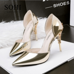 SOHI 1 Pairs PU Mirror Metal Pumps Pointed Toe Sexy Nightclub Women Shoes Office Lady High Heels gold 34