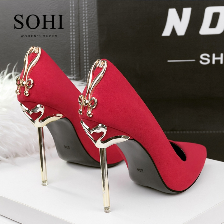 SOHI 1 Pairs Suede Metal Heel Pumps Pointed Toe Simple Design Nightclub High Heels Women Shoes red 39