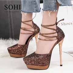 SOHI 1 Pairs Matte Sequin Platform Bandage Pumps Heels Sexy High Heel Party Women Shoes brown 34