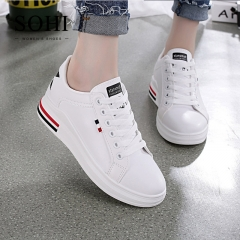 SOHI 1 Pairs PU Size 34-39 Heightened White Shoes Flats Sequin Star Sneakers Flats Shoes Women black 34