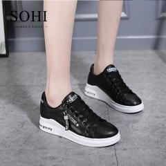 SOHI 1 Pairs PU Size 34-39 Zipper Heightened White Shoes Flats Sneakers Shoes Women black 34