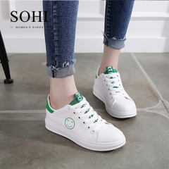 SOHI 1 Pairs PU Size 34-38 Funny Emoji Printing White Shoes Flats Sneakers Shoes Women green 34
