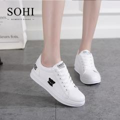 SOHI 1 Pairs PU Size 34-39 Cute Cartoon Bear White Shoes Flats Sneakers Shoes Women Footwear black 34