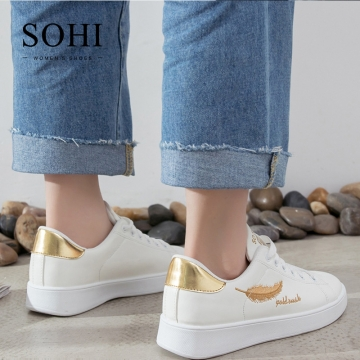 SOHI 1 Pairs PU Size 35-40 Embroidery Leaf White Shoes Flats Sneakers Shoes Women gold 35