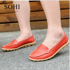 SOHI 1 Pairs Large Size 35-43 Soft Leather Causal Loafers Shoes Moccasins Flats Driving Shoes wine red 40