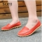 SOHI 1 Pairs Large Size 35-43 Soft Leather Causal Loafers Shoes Moccasins Flats Driving Shoes wine red 39