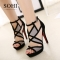 SOHI 1 Pairs Sexy Cross Bandage Buckle Strap Thin Heel High Heels Sandals Women'S Shoes black 34